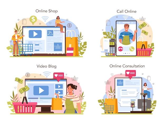 Servizio online del venditore o set di piattaforme. operaio professionista al supermercato