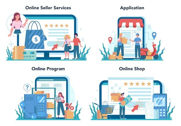 Servizio online del venditore o set di piattaforme