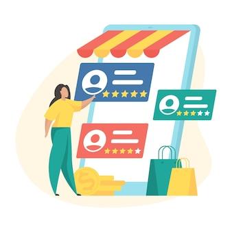 Sistema di reputazione del venditore. il cliente femminile del personaggio dei cartoni animati sceglie il venditore più votato utilizzando l'applicazione del mercato mobile. illustrazione vettoriale piatta