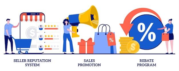 Sistema di reputazione del venditore, promozione delle vendite, concetto di programma di sconti. set di e-commerce.