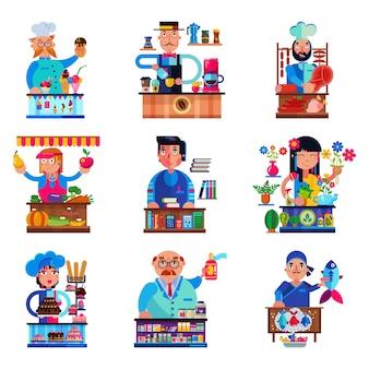 Carattere di venditore vettoriale venditore che vende in libreria candyshop o coffeeshop e macellaio o fornaio in stallo illustrazione set di vendita di persone in drogheria o pasticceria isolato