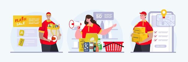 Venditore con il concetto stabilito dell'illustrazione di promozione di vendita di acquisto