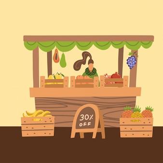 Vendita di frutta fresca sul mercato, donna in piedi alla bancarella del mercato, vendite al dettaglio di prodotti agricoli freschi fatti in casa e tropicali. illustrazione di stile piano del fumetto