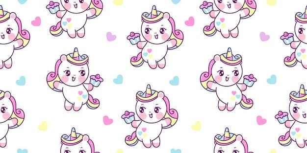 Modello semaless simpatico cartone animato di unicorno che tiene il bigné di compleanno per animali kawaii del partito