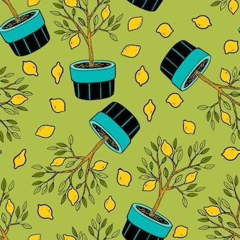 Modello senza cuciture con albero di limone e limoni. sfondo giardino vettoriale