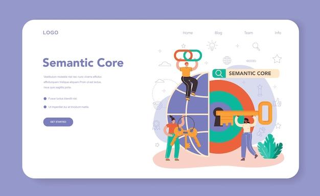 Banner web o pagina di destinazione del nucleo semantico. meccanismo seo. idea del motore di ricerca