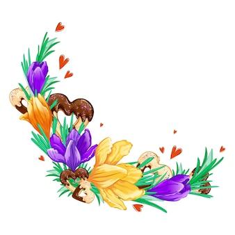 Composizione floreale semicircolare di crochi viola e arancioni