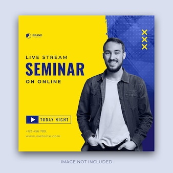 Seminario webinar workshop pubblicitario in formato quadrato per post su instagram