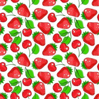 Modello di ciliegie e fragole semless