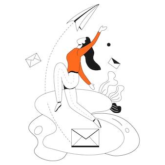 Invia il kit di illustrazione aziendale di email marketing