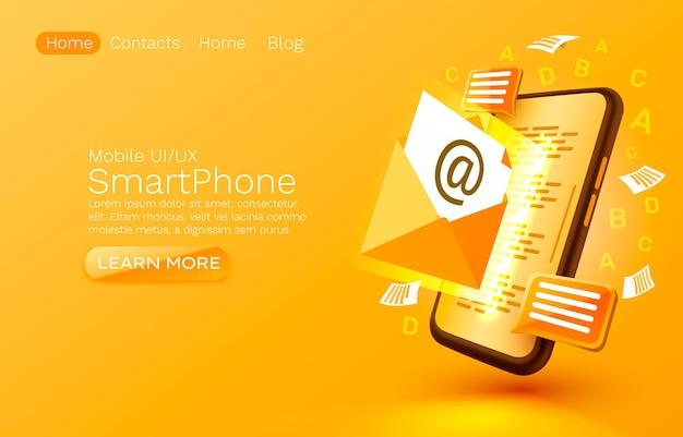 Invia un messaggio e-mail smartphone tecnologia schermo mobile display mobile vettore luce