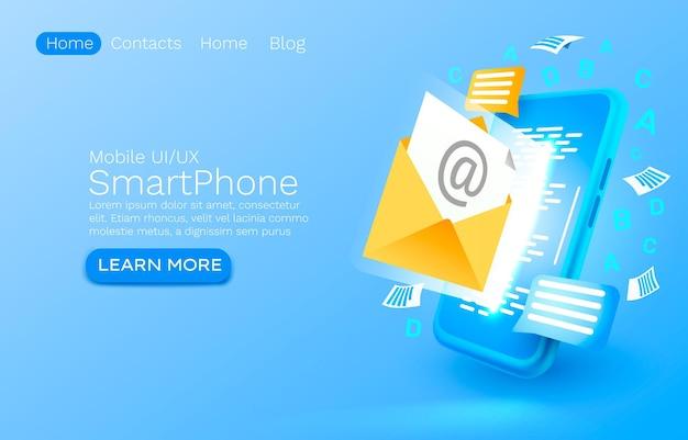 Invia un messaggio di posta elettronica smartphone tecnologia dello schermo mobile Vettore Premium