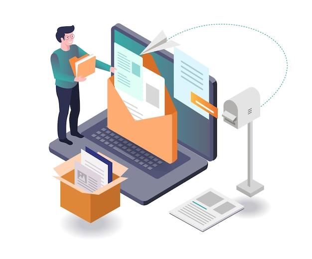 Invia e ricevi messaggi e-mail in design isometrico