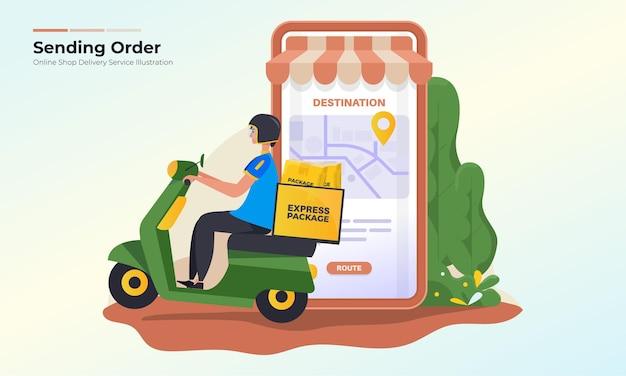 Invio dell'illustrazione dell'ordine del pacchetto per il concetto di servizio di consegna del negozio online