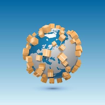 Invio di una scatola del segno artistico in tutto il mondo. illustrazione vettoriale