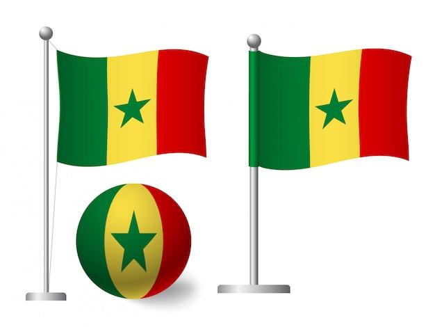 Bandiera del senegal sull'icona palo e palla