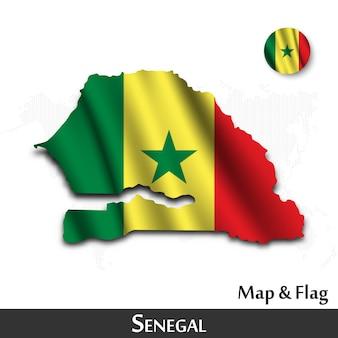 Mappa e bandiera del senegal. agitando il design tessile. dot mappa del mondo di fondo. vettore