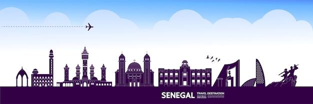 Grande illustrazione della destinazione di viaggio del senegal