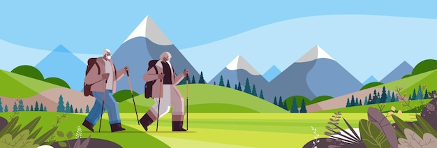 Senior afroamericano uomo donna escursionisti che viaggiano insieme a zaini attivi anziani attività fisiche concetto sfondo del paesaggio illustrazione vettoriale orizzontale integrale