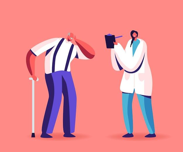 Personaggio senior all'esame medico dell'udito, uomo anziano con problemi di udito soffre di problemi di udito visita dal medico per appuntamento, trattamento o diagnosi di problemi