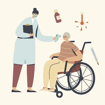 Personaggio anziano in visita in ospedale con sintomi di influenza o coronavirus, medico che misura la temperatura con termometro elettronico a una donna anziana, procedura sanitaria