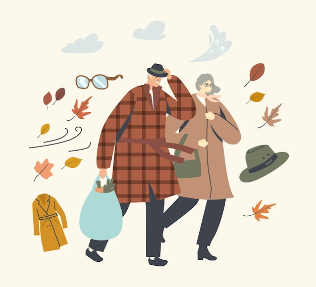 Caratteri delle coppie maggiori che combattono con vento forte, uomo invecchiato e donna che cammina in tempo ventoso