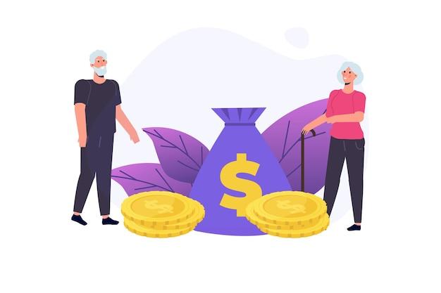 Coppia senior con il loro concetto di risparmio. illustrazione vettoriale.