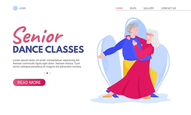 Banner pubblicitario per lezioni di ballo senior con balli da sala felici di vecchie coppie