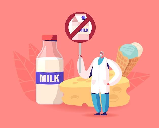 Senior doctor male character holding restriction banner con pacchetto di latte incrociato.