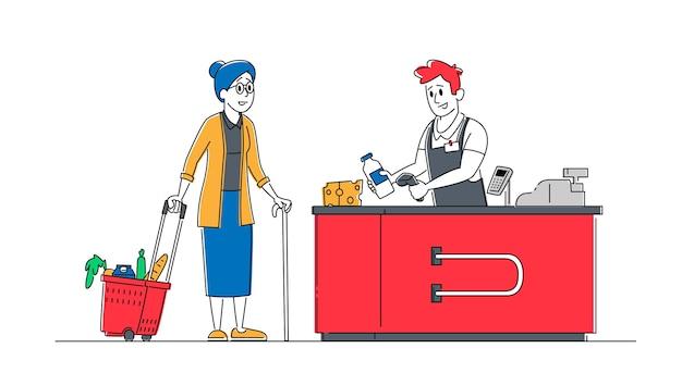Carattere femminile senior del cliente con le merci nel supporto del carrello della spesa