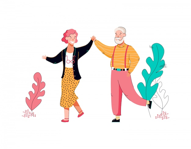 Senior nonna e nonno danza fumetto illustrazione isolato.
