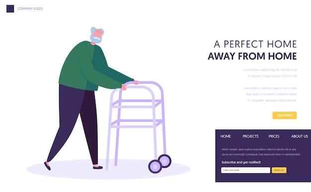 Uomo anziano, nonno invecchiato che si muove con l'aiuto del deambulatore a ruote anteriori. modello di pagina di destinazione