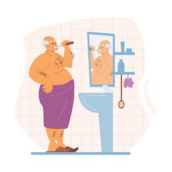 Uomo anziano che si lava i denti dopo l'illustrazione piana di vettore della doccia isolata
