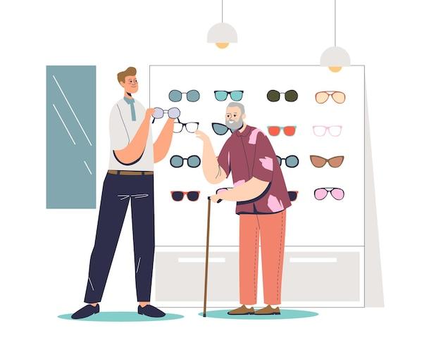 Uomo maggiore che sceglie gli occhiali nell'illustrazione del negozio di ottica