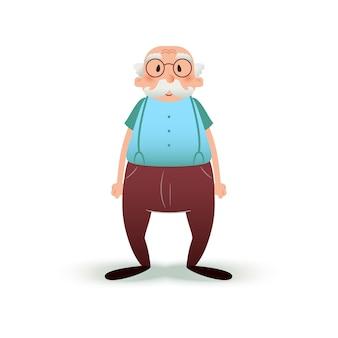 Uomo anziano con gli occhiali e con i baffi