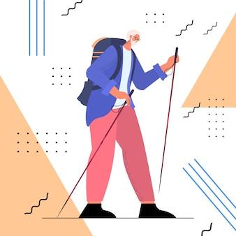 Escursionista uomo anziano che viaggia con zaino attivo vecchiaia attività fisiche concetto illustrazione vettoriale a figura intera