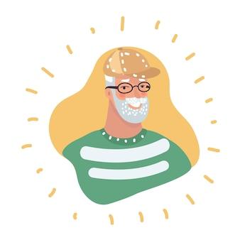Ritratto maschile dell'icona del profilo dell'uomo anziano