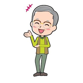 Un uomo anziano con un gesto di chat.