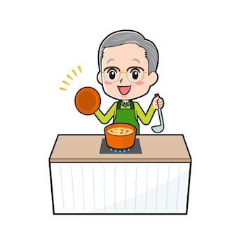 Un uomo anziano con un gesto di cuoco stufato.