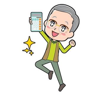 Un uomo anziano con un gesto di salto avere una calcolatrice.