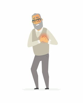 Uomo anziano con un mal di cuore - personaggi dei cartoni animati illustrazione isolato su priorità bassa bianca. una persona anziana che ha un attacco di cuore. concetto medico e sanitario