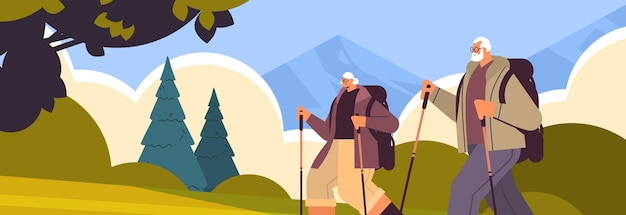 Senior uomo donna escursionisti che viaggiano insieme a zaini attivi attività fisica di vecchiaia concept
