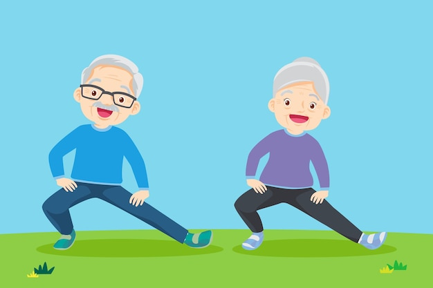 Persone anziane e ginnastica coppia di anziani nonni facendo esercizi yoga