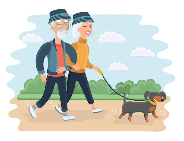 Illustrazione piana di vettore di persone anziane