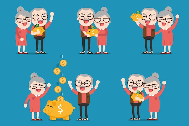 Persone anziane con salvadanaio dorato, pensione