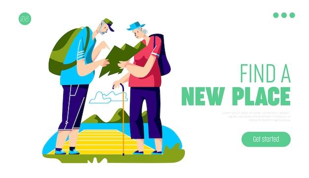 Concetto di viaggiatori senior con coppia di anziani di backpackers invecchiato con mappa escursionismo in montagna