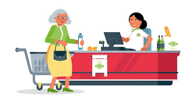 Donna senior all'illustrazione della cassa, cliente e cassiere alla cassa nel personaggio dei cartoni animati del supermercato, addetto alle vendite, assistente di negozio in uniforme, servizio di vendita al dettaglio, acquisti in drogheria