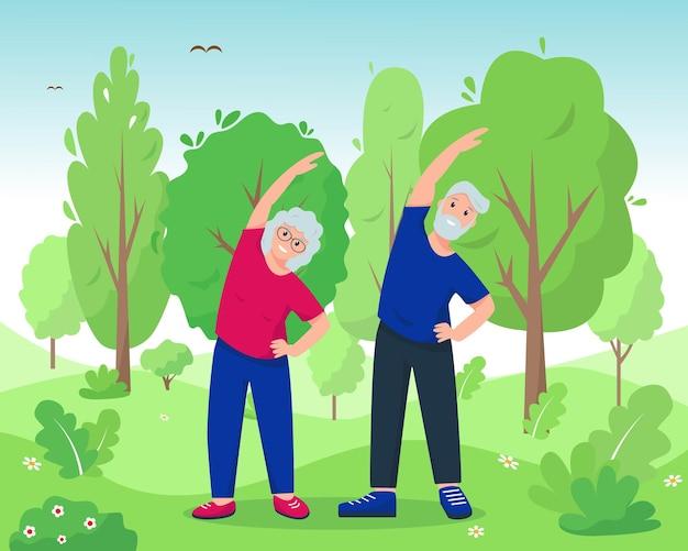 Senior donna e uomo che fanno esercizi nel parco in stile cartone animato illustrazione