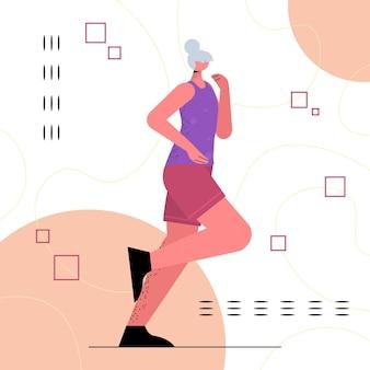 Donna anziana in abbigliamento sportivo che esegue una pensionata che fa esercizi fisici uno stile di vita sano per la vecchiaia attiva