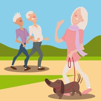 Donna anziana attiva e felice degli anziani con l'illustrazione ambulante delle coppie anziane e del cane